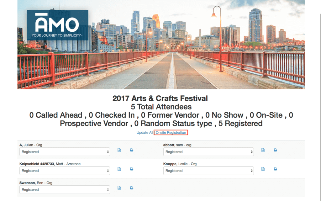 AMO onsite registration